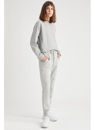DeFacto Basic Relax Fit Örme Sweatshirt Gri